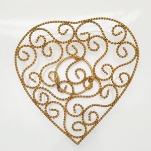 Heart Shaped Gold Metal Dish Decor